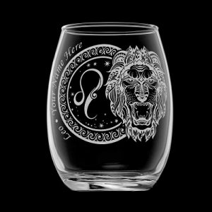 leo wine glass black